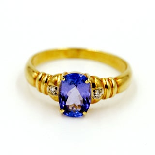 14k Yellow Gold Tanzanite and Diamond Fashion Ring