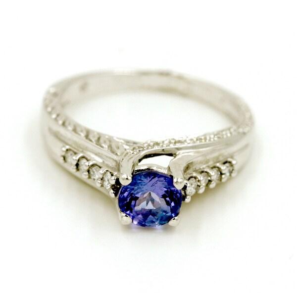 14k White Gold 1/5ct TDW Tanzanite and Diamond Fashion Ring (G-H, I1)