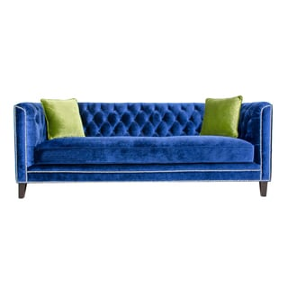 Pasargad Victoria Collection Velvet Sofa- Navy with Green pillows