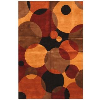 Herat Oriental Indo Hand-tufted Tibetan Brown/ Red Wool Area Rug (5'3 x 8')