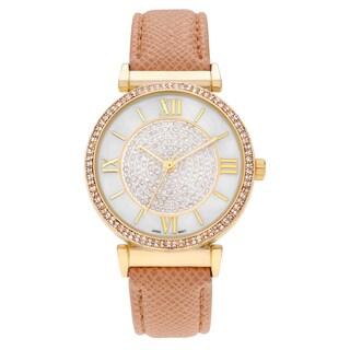 Geneva Platinum Women's Rhinestone Roman Numeral Strap Watch