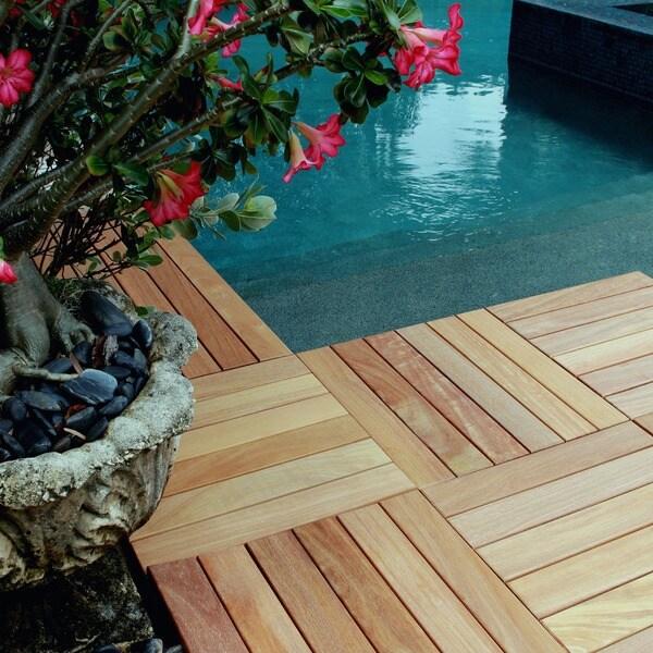 FlexDeck 2.0 Hardwood 18 x 18-inch Snap-in Deck Tiles
