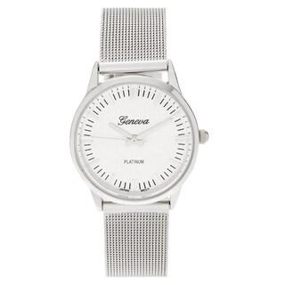 Geneva Platinum Women's Polished Mesh Stap Watch