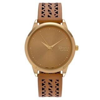 Geneva Platinum Women's Cutout Faux Leather Strap Watch