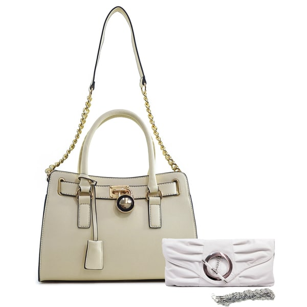 Dasein Medium Saffiano Leather Satchel with Chain Shoulder Strap & Pleated Front Clutch Purse with Ring White