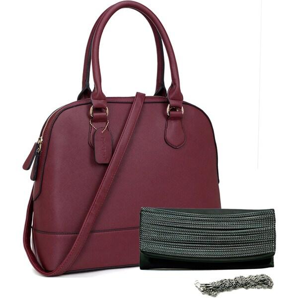 Dasein Saffiano Faux Leather Dome Zip-Around Handbag & Chain Flap Clutch Purse