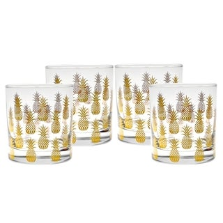 Culver 22k Gold 11-ounce 4-piece Old Fashion Glass Pineapple Set