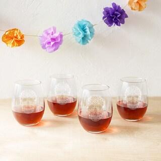 Sugar Skull 21-ounce Stemless Wine Glasses (Set of 4)