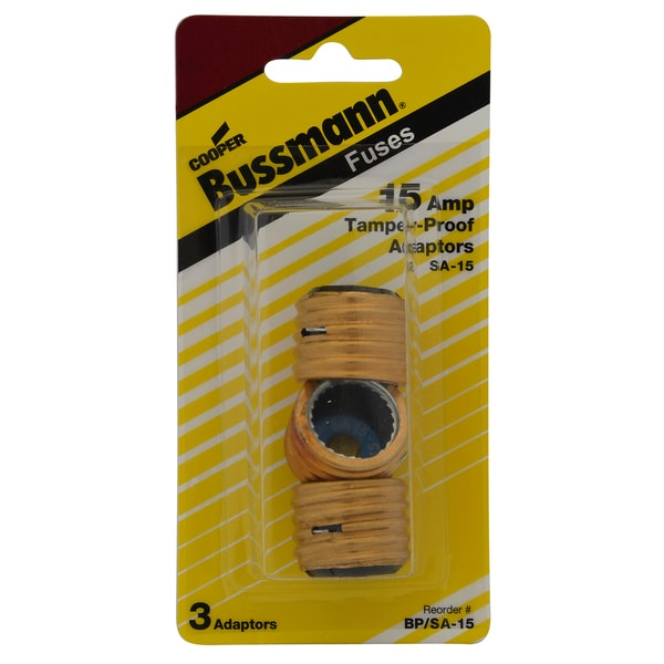 Bussman BP/SA-15 7-15 Amp Plug Fustat Fuse Adapter 3-count
