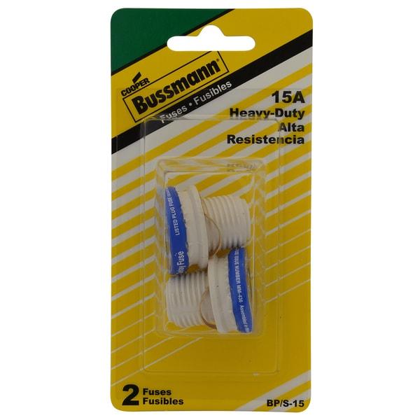 Bussman BP/S-15 15 Amp Dual-Element Time-Delay Rejection Base Fuse (Set of 2)