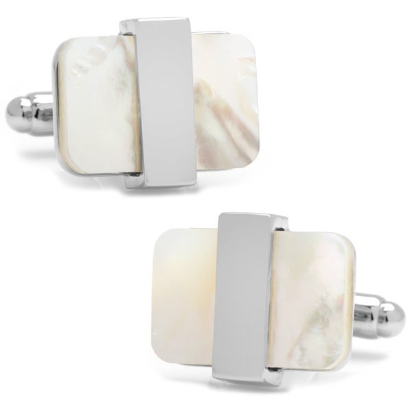 Silver Overlay Mother of Pearl Cufflinks