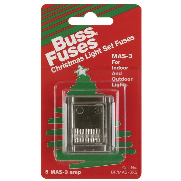 Bussman BP/MAS-3X5 3 Amp Fast Acting Holiday Light Fuses (Pack of 5)