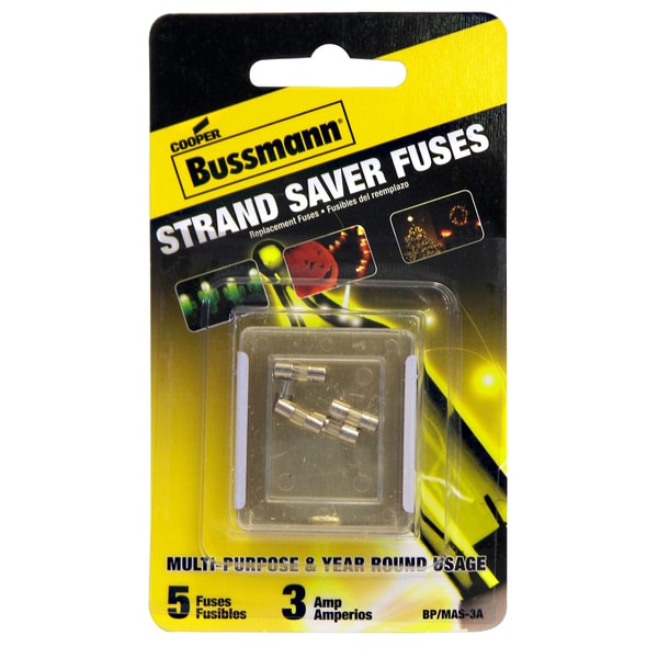 Bussman BP/MAS-3A 3 Amp Holiday Light Fuse 5-count