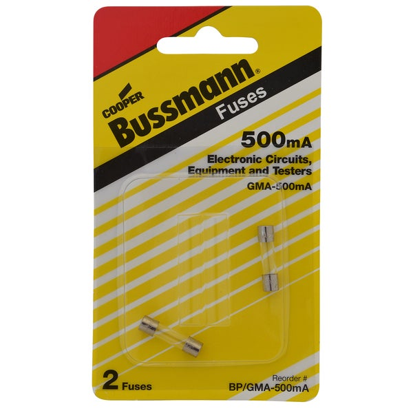 Bussman BP/GMA-500MA 500 Amp Glass Tube Fast Acting Electronic Fuse (Set of 2)