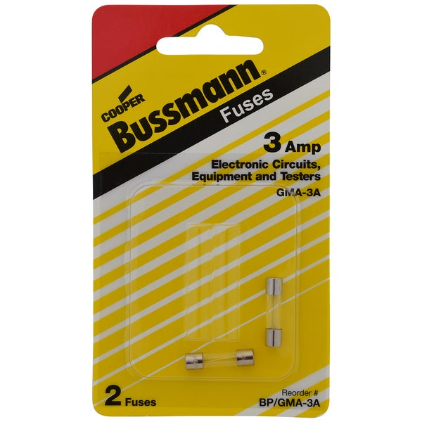 Bussman BP/GMA-3A 3 Amp Glass Tube Fast Acting Electronic Fuse 2-count