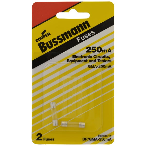 Bussman BP/GMA-250MA 250 mA Glass Fast Acting Electronic Fuse 2-count