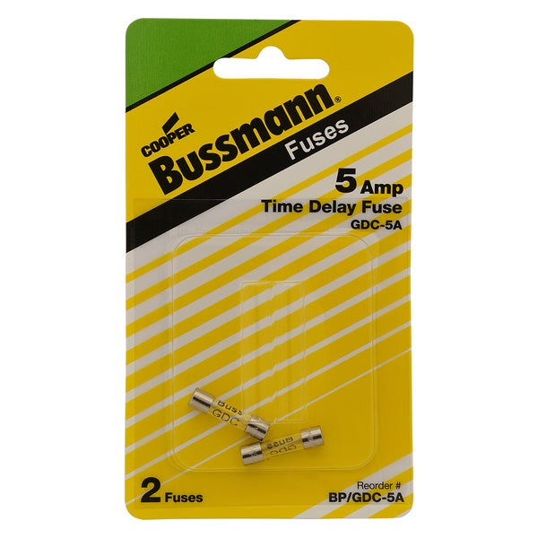 Bussman BP/GDC-5A 5 Amp 5 X 20mm Glass Tube Time Delay Fuse 2-count