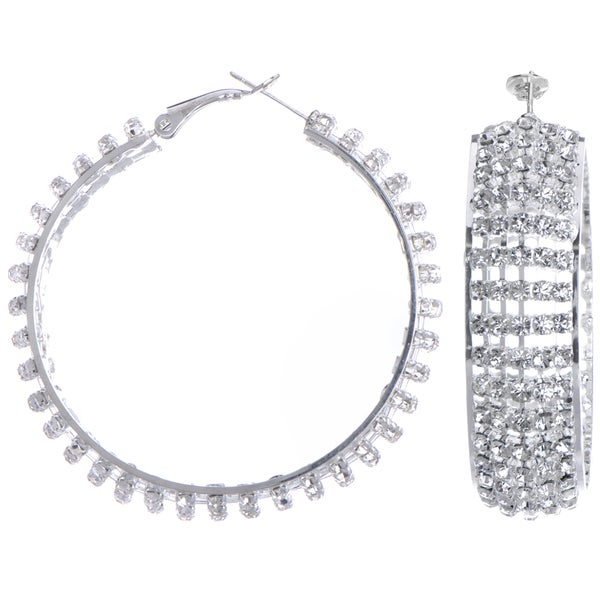Rhinestone Fancy Hoop Earrings
