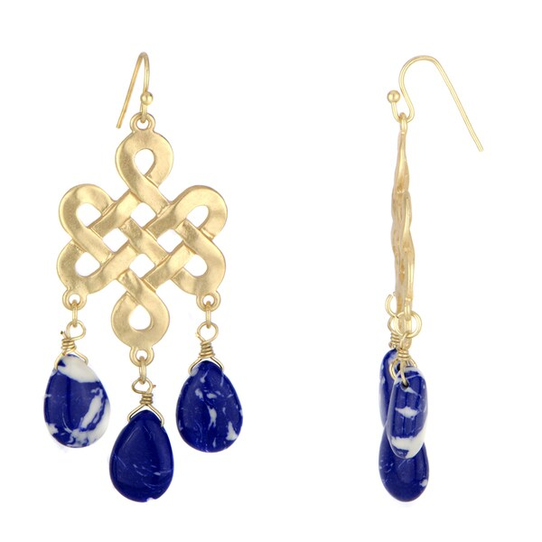 Knotted Blue Stone Bohemian Earrings