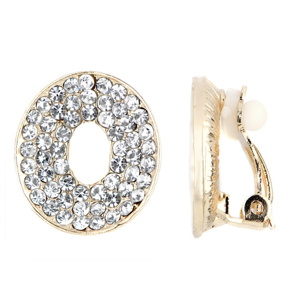 Gold Color Rhinestone Oval Clip On Earrings