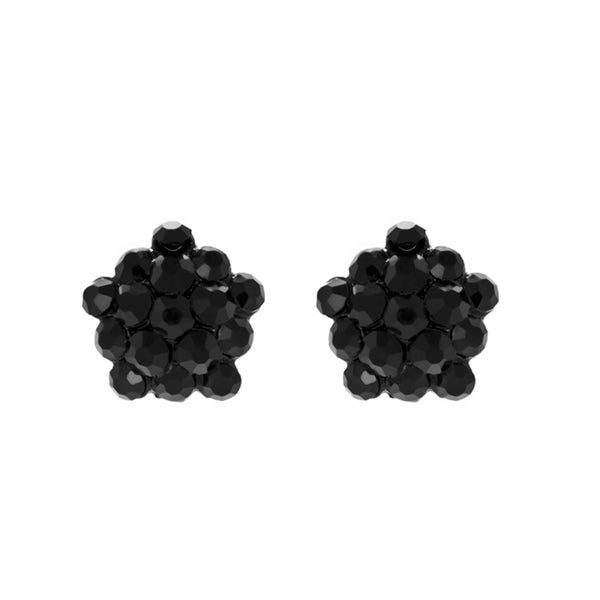 Black Rhinestone Cluster Stud Earrings