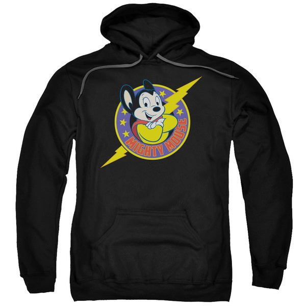 Mighty Mouse/Mighty Hero Adult Pull-Over Hoodie in Black