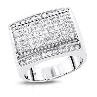 Luxurman 14k White Gold Men's 1 7/8ct TDW Diamond Ring (G-H, VS-SI)