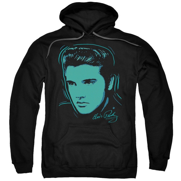 Elvis/Young Dots Adult Pull-Over Hoodie in Black 18621515