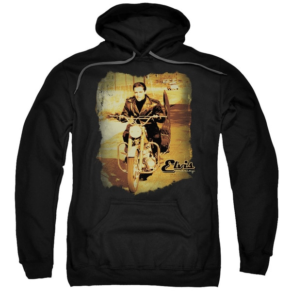 Elvis/Hit The Road Adult Pull-Over Hoodie in Black