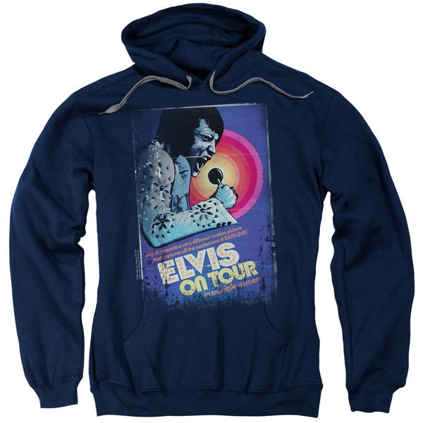 Elvis/On Tour Poster Adult Pull-Over Hoodie in Navy
