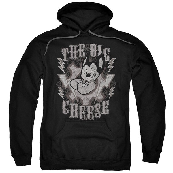 Mighty Mouse/The Big Cheese Adult Pull-Over Hoodie in Black