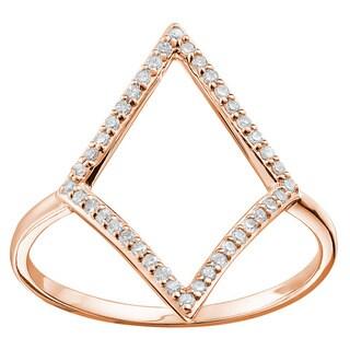 10k Gold 1/6ct TDW Diamond 'Losange' Ring (Size 6.5)