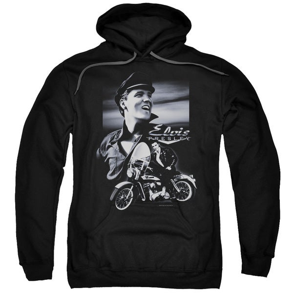 Elvis/Motorcycle Adult Pull-Over Hoodie in Black