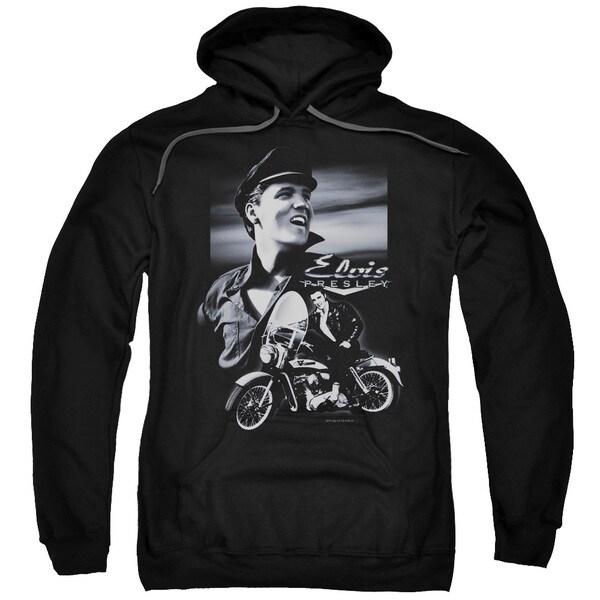 Elvis/Motorcycle Adult Pull-Over Hoodie in Black