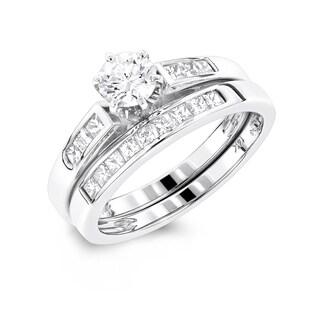 Luxurman 14k Gold 1 1/10ct TDW Diamond Engagement Ring Set (G-H, SI1-SI2)