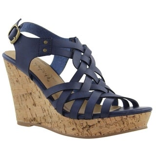 Celebrity NYC Women's Grace Blue, Black or Tan Faux Suede Wedge Sandal