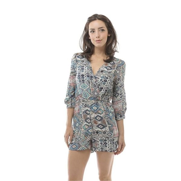 Soho Women Blue 3/4 Sleeve Geometric Print Short Romper