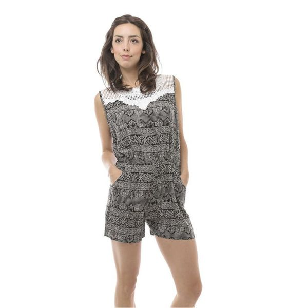 Soho Women Black/ Grey Sleeveless Elastic Waist Black Abstract Romper