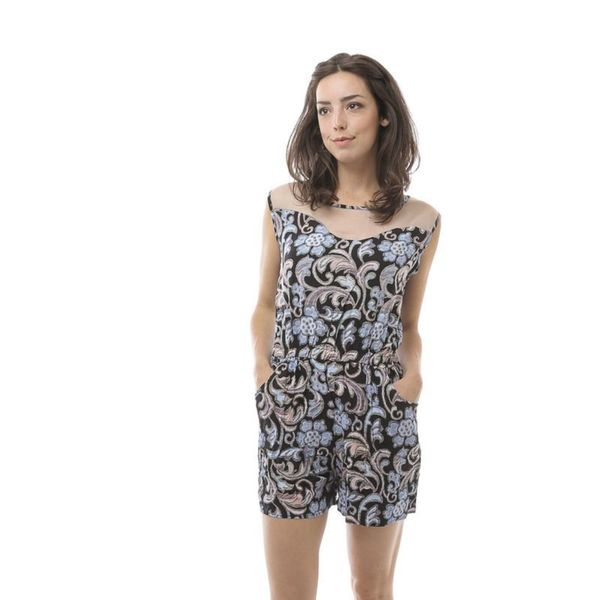 Soho Women Blue Sleeveless Elastic Waist Malay Floral Romper