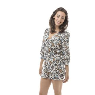 Soho Women Colorful 3/4 Sleeve Floral Print Short Romper