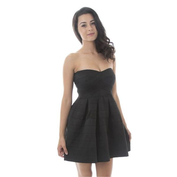 Soho Women Black Sweetheart Strapless A-line Bandage Party Prom Night Dress