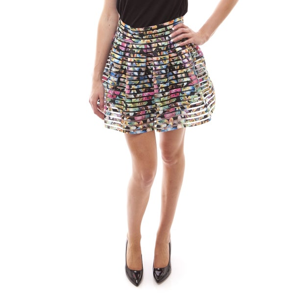 Soho Women Orchid/ Peony/ Tribal Print Pleated Bandage Skirt