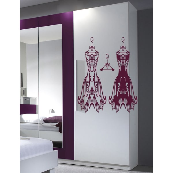 Dresses in the dressing room Wall Art Sticker Decal Pink