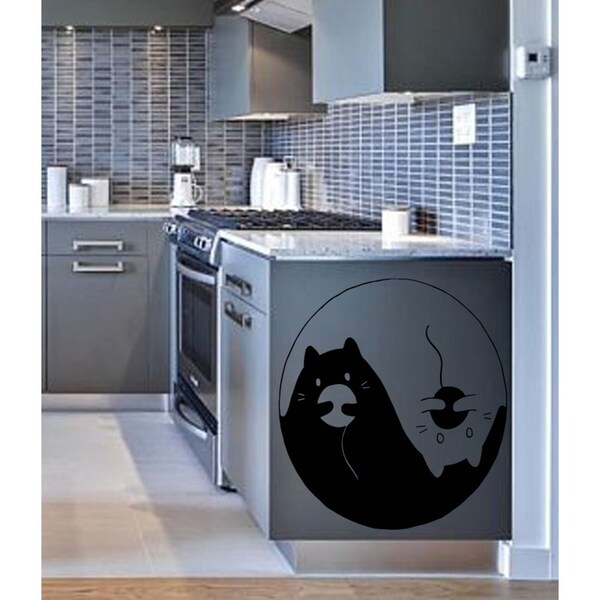 Cat Yin Yang black and white Wall Art Sticker Decal
