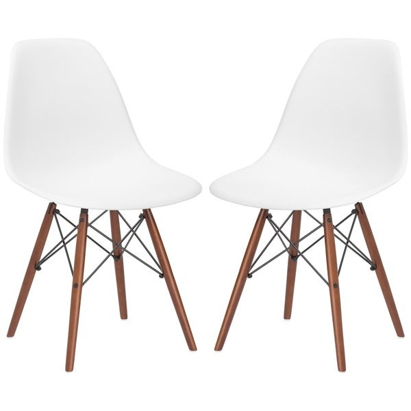 Vortex Dining Side Chair in Walnut Legs (Set of 2) in White(As Is Item)