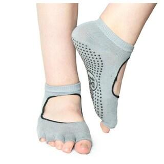DG Sports Women's Grey Mary Jane Open Toe Non-slip Yoga Ankle Socks with Grips (2 Pack)