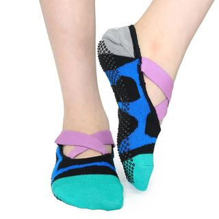 DG Sports Women's Essential Nonslip Crossover Yoga Pilates Socks With Grips S/M 2-pack