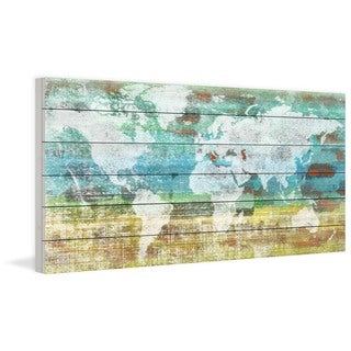 Parvez Taj 'Aqua Day' Print on White Wood