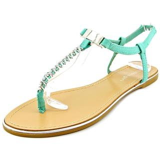 Madden Girl Women's 'Nelly' Green Synthetic T-strap Sandals