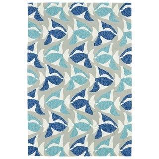 Indoor/Outdoor Beachcomber Seafish Blue Rug (7'6 x 9')